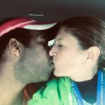 Traditional after race kiss!